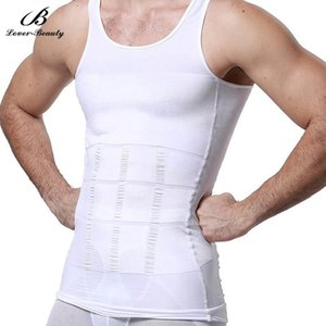 Wholesale Lover Beauty Men s Slimming Body Shapewear Corset Vest Shirt Compression Tummy Belly Control Waist Cincher Underwear Black White