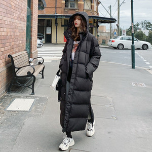 Long Winter Jacket Parka Hem Extra Maxi X-Long Women Coat Large Size Plus Female Overcoat Clothing Outerwear Cotton Down Hood