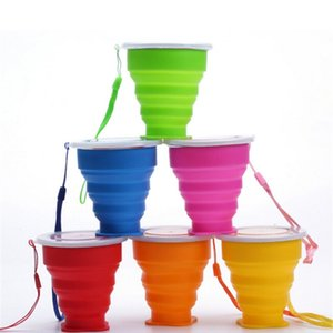 Wholesale Hot sale Folding Silicone Cup Silicone Retractable Collapsible Drink Mug Portable Outdoor Travel Multi function Water Cup ML with OPP Bag