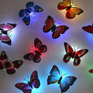 Wholesale Flashing LED Lamps Changing Colorful Butterfly Light Wedding baby Room LED Night Light Holiday Lighting Christmas Lamp Christmas Decoration