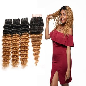 brazilian virgin hair bundles with closures Shining Star Brazilian Hair Blonde Color 1B 27 Deep Curly Ombre Human Hair Bundles with Closure