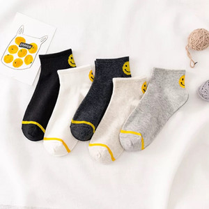 Wholesale Spring And Summer New Trend Korean Version Of The Socks College Wind Men And Women Smile Face Cotton Boat Socks