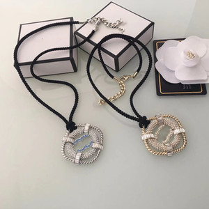 luxury women's female's ladies stamped pendant crystals Clavicular chain short necklaces sweater chains 2colors free shipping