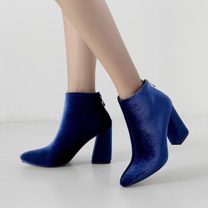 Wholesale Velvet Women Ankle Boots High Heels Fashion Zipper Pointed Toe Fall Winter Short Booties Party Dress Black Blue Red Boots