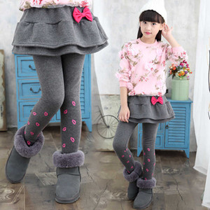 Thick Winter Baby Clothes Girls Skirt Pants Plus Velvet Kids Girl Pant Cotton Sweet Bow Trousers Children Clothing 3p056