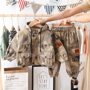Wholesale military baby clothing for sale - Group buy Winter Kids Baby Boys Girls Warm Camouflage Clothing Sets Coat Pants Children Boy Military Uniform Suits Outfits HNLY31