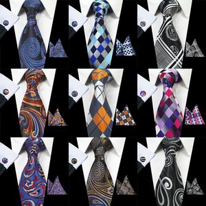 Wholesale hot Plaid Paisley Tie Set Silk Jacquard Mens Necktie Gravata Hanky Cufflinks Set Pocket Handkerchief Mens Tie for Wedding