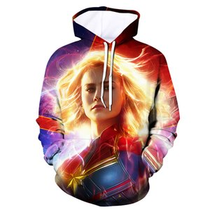 Wholesale 3D Printed Captain Marvel Carol Danvers Ms Marvel Costumes Hoodies Sweatshirts Tracksuit Casual hooded Jacket clothing drop ship