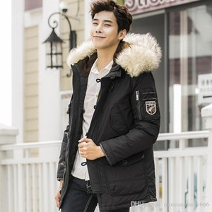 Wholesale Down Jackets Men Length White Duck Feather Hair Collar Winter Warm Hooded Down Parkas Fashion Men Clothes