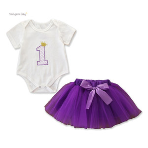 Wholesale Baby Girl Skirt Suit Infant Girl Solid Color Letters Romper Tops Kids Designer Clothing Elastic Bow-Tie Purple Mesh TUTU Skirt