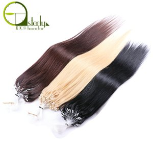 Wholesale Sterly Hair Straight Micro Loop Hair Extensions s Pack inch Human Bundles Remy Micro Loop Ring