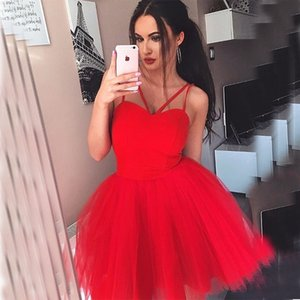 Wholesale Sweetheart Red Homecoming Dresses A Line Short Mini Party Dresses Crisscross For Prom Party Tulle Custom Made Homecoming Gowns