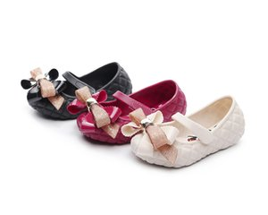 New Girls Pink Bow Shoes non-slip sole student jelly Korean Princess girls shoes designer creative children's shoes wholesale free shipping on Sale