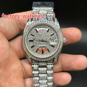 Wholesale Best Quality Full Big Diamond Automatic MM fashion women Watch Silver Waterproof Stainless Steel Watches