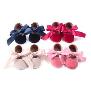 Wholesale Brand New Baby Girl Princess Velvet Bowknot Fashion Toddler First Walkers Shoes Buckle Strap Solid Anti slip Baby Shoes