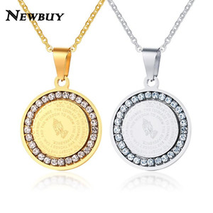 Wholesale NEWBUY Double Sides Wear Bible Verse Prayer Necklace For Women Men Stainless Steel Coin Pendant Christian Praying Hands Jewelry