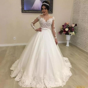 Wholesale 2020 White Ivory Ball Gown Garden Wedding Dresses Bridal Gowns Jewel Neck Illusion Long Sleeve Bow Tie Belt Wedding GownS custom made