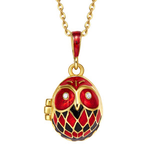 Wholesale Women Luxury Necklace Mother and Baby Owl Enamel Pendant Red Charm Necklace Pendant Stone Christmas Gift