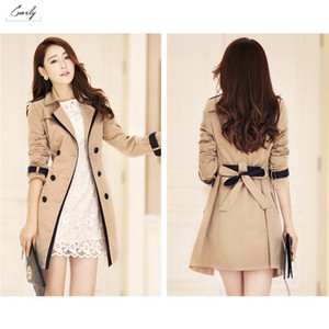 Wholesale Winter Autumn Coats Clothes Women Slim Casual Trench Female New Korean Pockets Windbreaker Coat Outwear With Belt