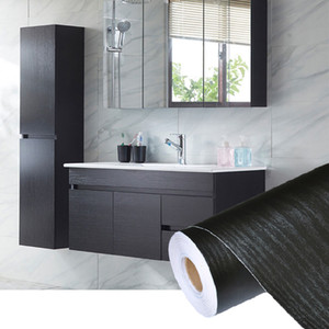 Wholesale roll papers resale online - PVC Self Adhesive Waterproof Black Wood Wallpaper Roll For Furniture Door Desktop Cabinets Wardrobe Wall Contact Paper
