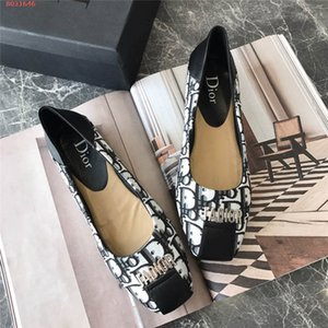 Spring girl with low heels Rubber printing outsole head single shoe flat heel Single shoes with cow buckles on top