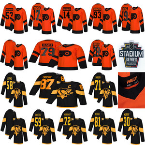 2019 Stadium Series Pittsburgh Penguins Philadelphia Flyers 87 Sidney Crosby 71 Malkin 58 Letang 28 Giroux 79 Hart Hockey Jerseys