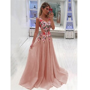 Wholesale 2019 NEW Elegant Party Ball Gown Dress Sexy Women Vestidos Evening Dress XL Plus Size Flora Maxi Dresses