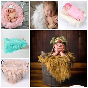 Wholesale 60 cm Newborn Baby Photography Props Blankets Outfit Photo Props Infant Photo Fur Stretch Yarn Wrapped Props Blanket