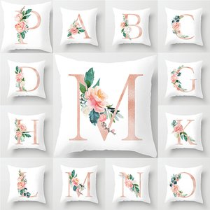 Simple Letter English Alphabet Printed Cotton Linen Pillow Case Decorative Office Home Throw Pillow Cover Cojines Almofada Coussin on Sale