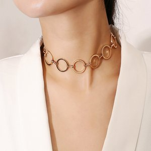 Wholesale Dropship New Creative Personality Jewelry Geometric Copper Circle Fashion Clavicle Neck Chain Necklace Women