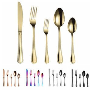Wholesale Colorful Stainless Steel Tableware Set Flatware Western Food Steak Knife Fork Spoon Silver Gold Rainbow Black Retro Dinner Cutleries HHA893