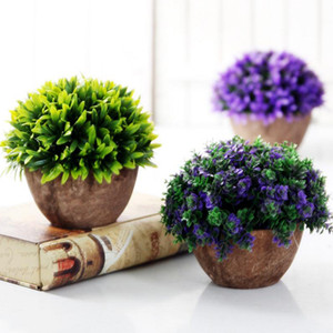 Wholesale Artificial Plants Vase Set Plastic Plants Bonsai Artificial Flower In Pot Wedding Home Garden Office Decoration