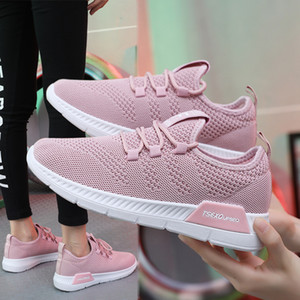 Wholesale korean running shoes resale online - Cross border large sneakers women s running shoes fly weaving small women s versatile flat bottom Lace Up Korean casual shoes