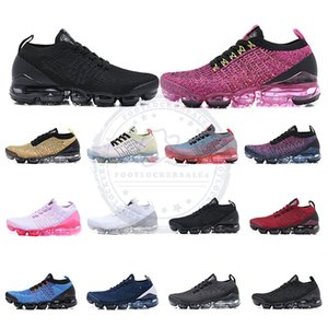 Wholesale Air Knit Fly Running Shoes All Blacks Triple White Army Green Mens Womens Breathable Sneakers New Walking Sports Shoes Size