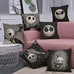 Wholesale 45cm cm Cushion Cover Halloween A Gray Ghost Head Design Linen Cotton Pillow Case Home Halloween Decorative Pillow Cover
