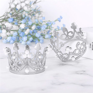 Wholesale 2Pcs Little Girls Tiny Full Circle Round Crown Hair Ornaments Rhinestone Crystal Pearl Tiara Princess Headwear for Wedding Party