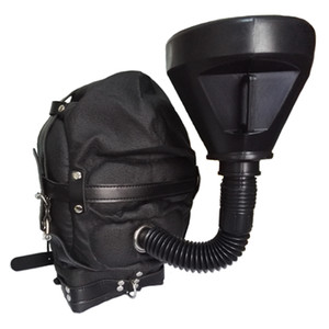 BDSM Funnel Mouth Gag Urine Irrigation Hood Leather Muzzle Open Mouth Feeding Irrigating System for Sexual Slave Training Head Harness