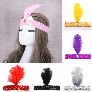 Wholesale 12 Color Sequin Feather Headbands Dance Performance Stage Show Party Headbands for Kids Woman Designer Hair Accessories HHA759