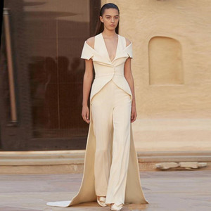 Fashion Ivory Two Pieces Formal Evening Dresses Jumpsuits with Wrap V-Neck Spaghetti Custom Made Long Train Prom Dress Celebrity Party Gowns on Sale