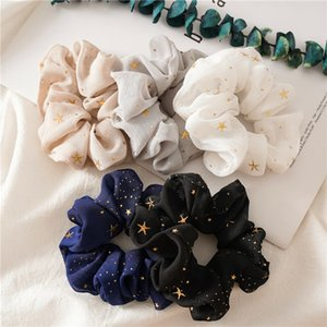 Wholesale dancing hair resale online - Luxury Lady girl Hair Scrunchy Ring Elastic Hair Bands Vintage chiffon star sequins Large intestine Sports Dance Scrunchie Hairband A3362
