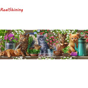 Wholesale Large size D Diy Diamond Painting Cross Stitch full round Square Diamond Embroidery Cat family for room Decor H2285
