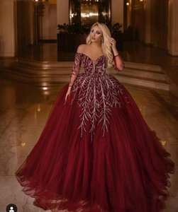 Elegant Off Shoulder Burgundy Arabic Dubai Evening Dress Long Sleeves Elegant Women Plus Size Ball Gown Prom Dresses 2019 Formal Abendkleid on Sale