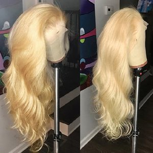 Wholesale Light Blonde Human Hair Lace Front Wig Pre Plucked Body Wave Virgin Peruvian Hair Glueless Blonde Full Lace Frontal Wigs For Black Women