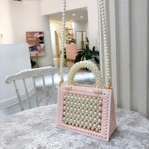 Designer Acrylic Crystal Pearl Women Handbags Pearls Beaded Totes Woman Bags Handmade Charm Evening Bag Lady Purse Wool weaving