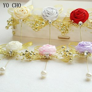 Wholesale YO CHO Men Groom Boutonniere Flower Girl Corsage White Pink Brooch Fake Pearl Corsage Wedding Planner Supplies Prom Party Meeting Decoration