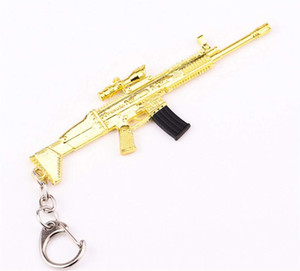 Metal Keychain Golden SCAR-L M4 DSR Gun Rifle Model Action Figure Arts Toys Collection Keychain Gift