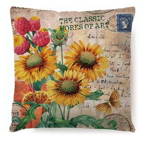 Wholesale paintings sunflowers resale online - Sunflower Cushion Covers Vintage Style Decorative Pillows Cover Hand Painted Flower Throw Pillow Case Sofa Seat Home Decor RRA2834