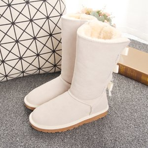 Wholesale New designer boots Australia women girl classic luxury snow boots bowtie ankle Half bow fur boot winter black Chestnut