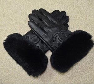 Women winter fur Plush Genuine Leather Softs fashion brand elastic Half finger rabbit warm sheepskin Sexy drive Ladies Touch screen gloves