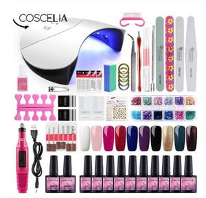 Gel Polish Nail Art Manicure Tools Kit UV LED Nail Lamp Dryer Colors Gel Nail polish DIY Tools Gel Varnish Set